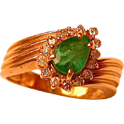 Emerald & Diamond 14K Gold Ring Hallmarked