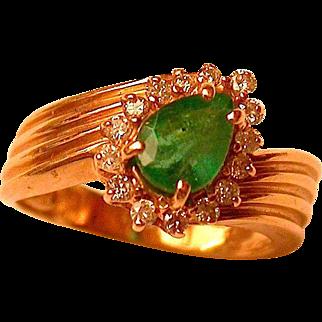 Emerald & Diamond 14K Gold Ring Hallmarked