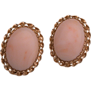 Vintage Angel Skin Coral 14K Gold Clip Earrings