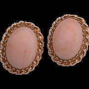 Vintage Angel Skin Coral 14K Gold Clip Earrings