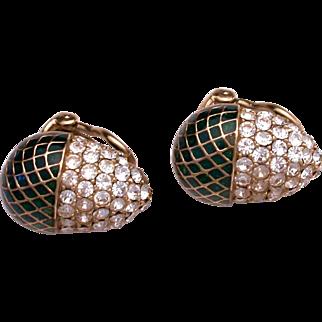 Vintage Signed 'Ciner' Enamel & Rhinestone Clip On Earrings