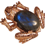 Fabulous 14K Gold, Diamond and Cabochon Labradorite Frog Brooch