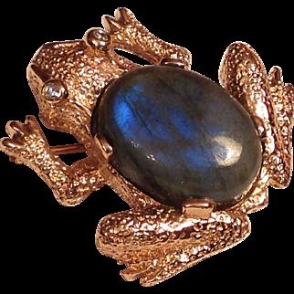 Fabulous 14K Gold, Diamond and Cabochon Labradorite Frog Brooch
