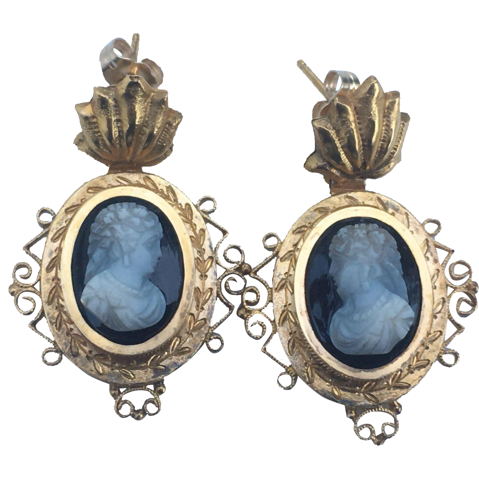 Antique Victorian 14K Gold Hardstone Cameo Earrings