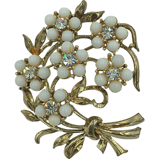 """Vintage Signed """"Coro""""  floral bouquet brooch hallmarked"""