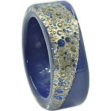 Authentic Henri Bendel Gold & Blue Resin Bangle