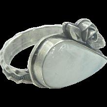 Vintage Sterling Silver & Quartz  Southwestern Ring marked size 6.5