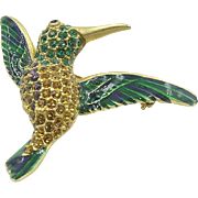 Vintage enamel and rhinestone studded Hummingbird  The Museum Store