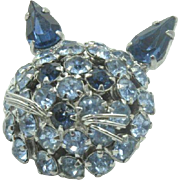 Vintage  signed 'Warner' blue crystal Cat brooch