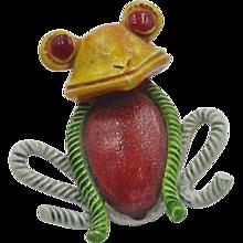 Vintage 'Hollycraft' Frog Brooch hallmarked