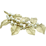 Vintage Crown Trifari  Floral Brooch hallmarked