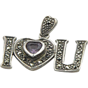 Sterling Silver Marcasite & Amethyst  'I Love You' Pendant
