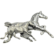 Sterling Silver Colt's Racing signed Brooch