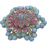 Vintage Miriam Haskell Glass Beaded Brooch signed