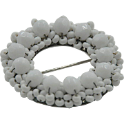 vintage 'Hobe'  White Beaded Brooch hallmarked