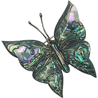 Mexican Sterling Silver & Abalone Butterfly Brooch hallmarked