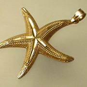 Vintage 14K Gold Starfish  Charm or Pendant hallmarked MA