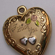 1940's Gold Filled & Enameled Heart Locket 'I Love You'  hallmarked