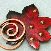 Signed Matisse copper and enamel leaf brooch