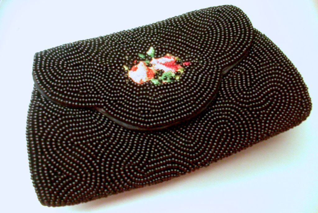 Hand made rare Schildkraut Brothers black beaded petite purse and hand mirror