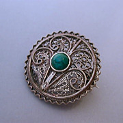 Vintage sterling silver filagree brooch with turquoise