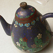 Antique Asian Cloisonne  Miniature Teapot