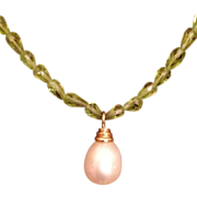 Gorgeous 14K Set Single Pearl & Peridot Necklace