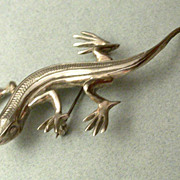 Vintage Mexican Sterling Silver Gecko Brooch Hallmarked
