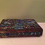 Vintage Chinese Repousse Enamel Box marked