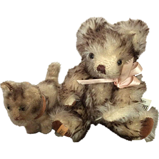 Merrythought Teddy with his little Cat Friend, maybe Steiff