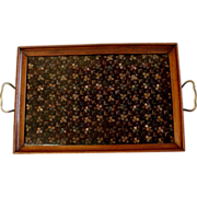 Vintage 15in Royal Rochester Brass Handled Wood Tray with Floral Lace Fabric under Glass