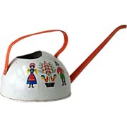Vintage Ohio Art Co Child's Watering Can Tin Litho With Folk Painting