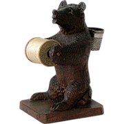 Early 1900's BLACK FOREST BEAR Wood Carving 4in Thread Holder 4 inch Germany Expertly Carved - Red Tag Sale Item