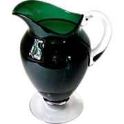 Vintage Elegant Emerald Green Footed Glass Pitcher With Applied Clear Glass Handle and Ground Base