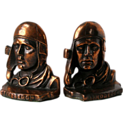Vintage Charles Lindbergh Bookends Aviator Cap Goggles Bronze/Copper over Cast Iron Silhouette Pair