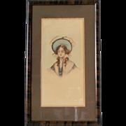 Vintage Framed Victorian Era Woman Original Ink and Watercolor Portrait 10x17 Real Wood Faux Tiger Stripe Frame