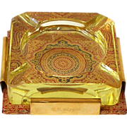 STUNNING 1950s Ashtray Heavy Yellow Glass in Holder of Brass and Embossed Leather in Ruby Red Gold Black High End Business Gift Advertising