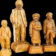 Canadian Carving 4 Wood People Thibault Caron Carvings Figures Vintage