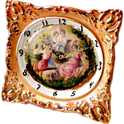 Sessions Porcelain Picture Frame Clock Rococo Style Gilt w Painted Neo Classical Allegorical Woodland Scene of Four Women on Face Electric