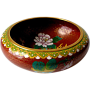 Chinese Red Cloisonne Bowl Floral Vase Motif Turquoise Footed Base
