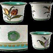 1953 Gouda Planter Royal Zuid Purple and Orange Tulip Floral Irene Holland No 2810 17 Green White 1950's