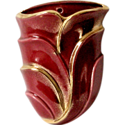 Vintage 40s Planter Wall Pocket Burgundy and Gold High Gloss Ceramic Organic Design Porcelain