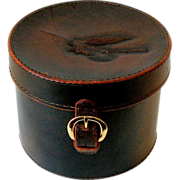 Vintage 7x9 Round Brown Leather Box Embossed Fishing Fly on Strap Down Hinged Lid Box Hat Collar Cuff Storage