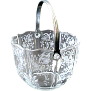 Fostoria Ice Bucket Elegant Glass Etched Baroque in Meadow Rose Clear w Handle