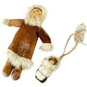 Vintage Handmade Native American Tourist Trade Dolls Fur Leather Indian Woman with Papoose on Board