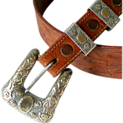 Sterling w Gold Overlay Western Ranger Buckle 2 Slides Loops Embossed on Tooled Vintage Tex Tan Leather Belt Cowboy Cowgirl