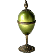 1950s Evans Egg Shaped Pedestal Table Lighter Green Guilloche Enamel and Bronze Tone Metal Hallmarked Flint Sparks Vintage