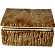 Carved Italian Brown Alabaster Box Rectangle Brass Fittings Mid Century Beautiful Ex Cond