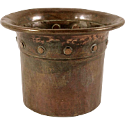 Rare 1905 ONONDAGA METAL SHOPS Riveted Hand Hammered COPPER Vase Container OMS Marked Arts and Crafts Antique STUNNING