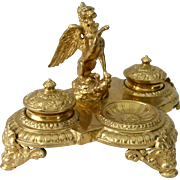 Large Ornate Maitland Smith Inkwell Gilded Brass with Griffin and Gargoyles Baroque Style Vintage